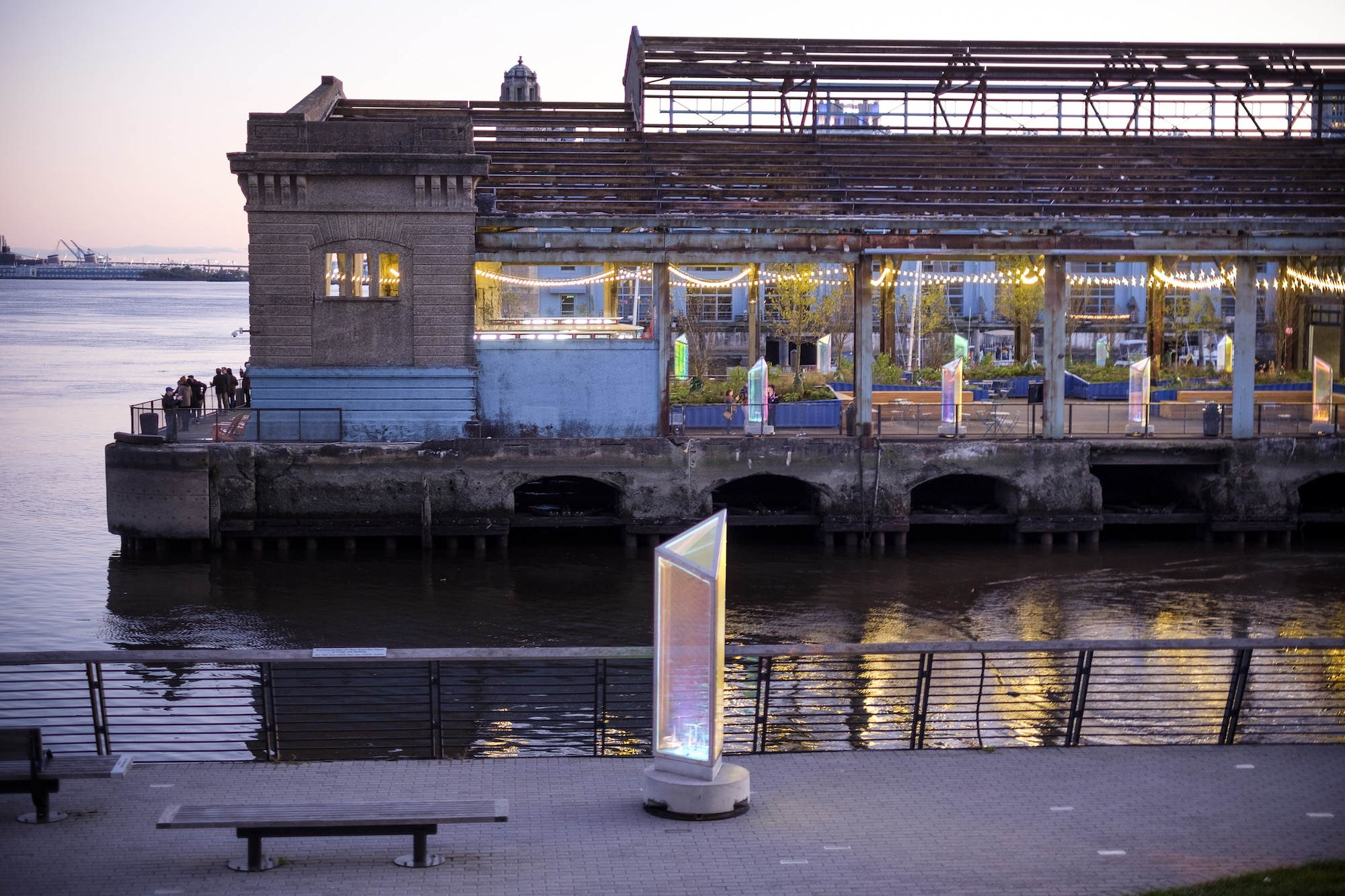 Exterior of the Cherry Street Pier at sunset