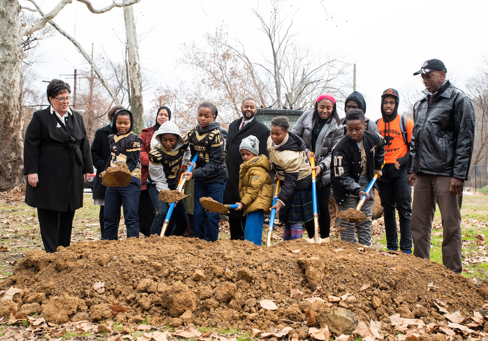 Kids help break ground on a new construction project