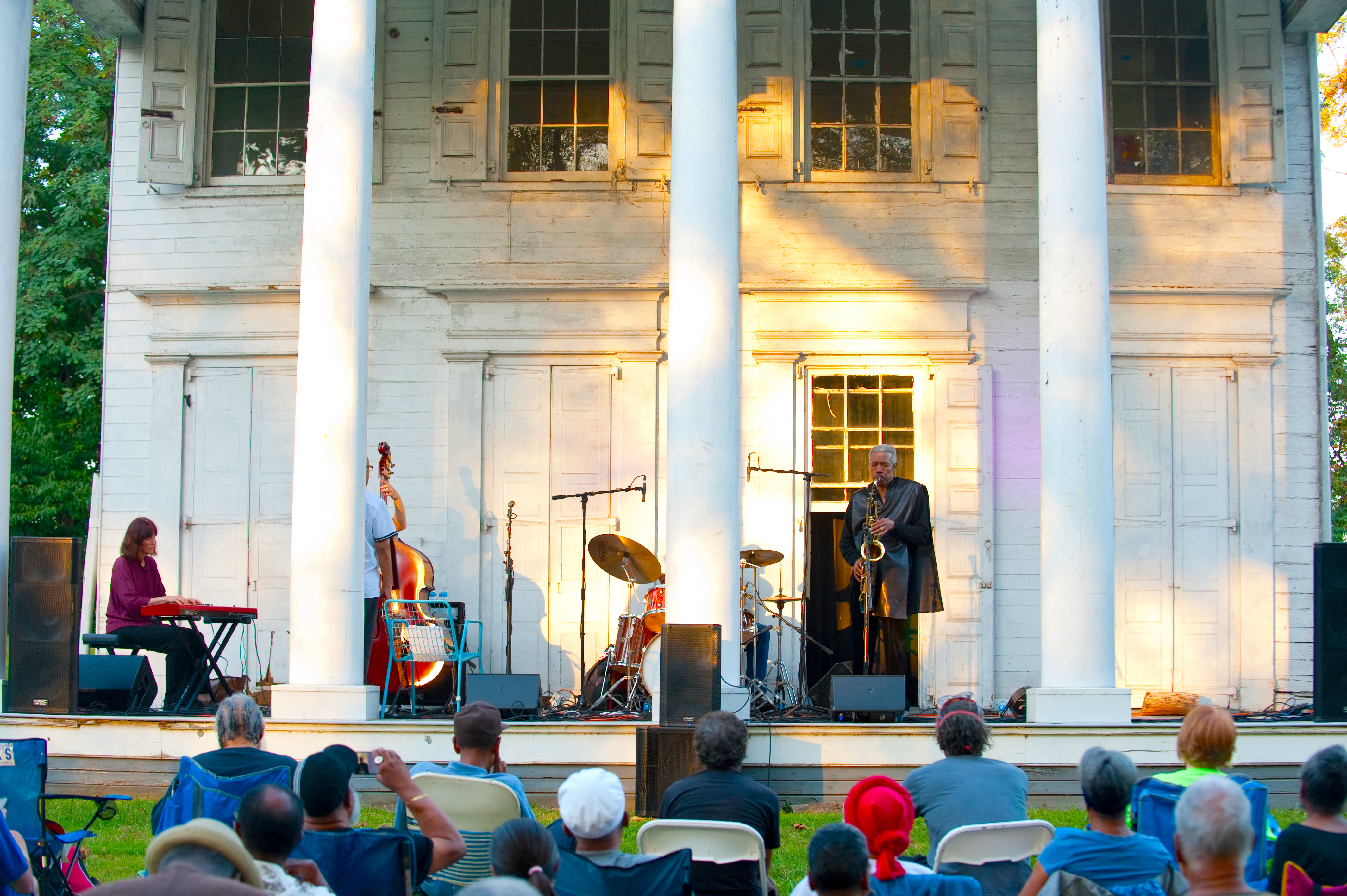 Jazz musicians playing in front of Strawberry Mansion in Philadelphia's Fairmount Park