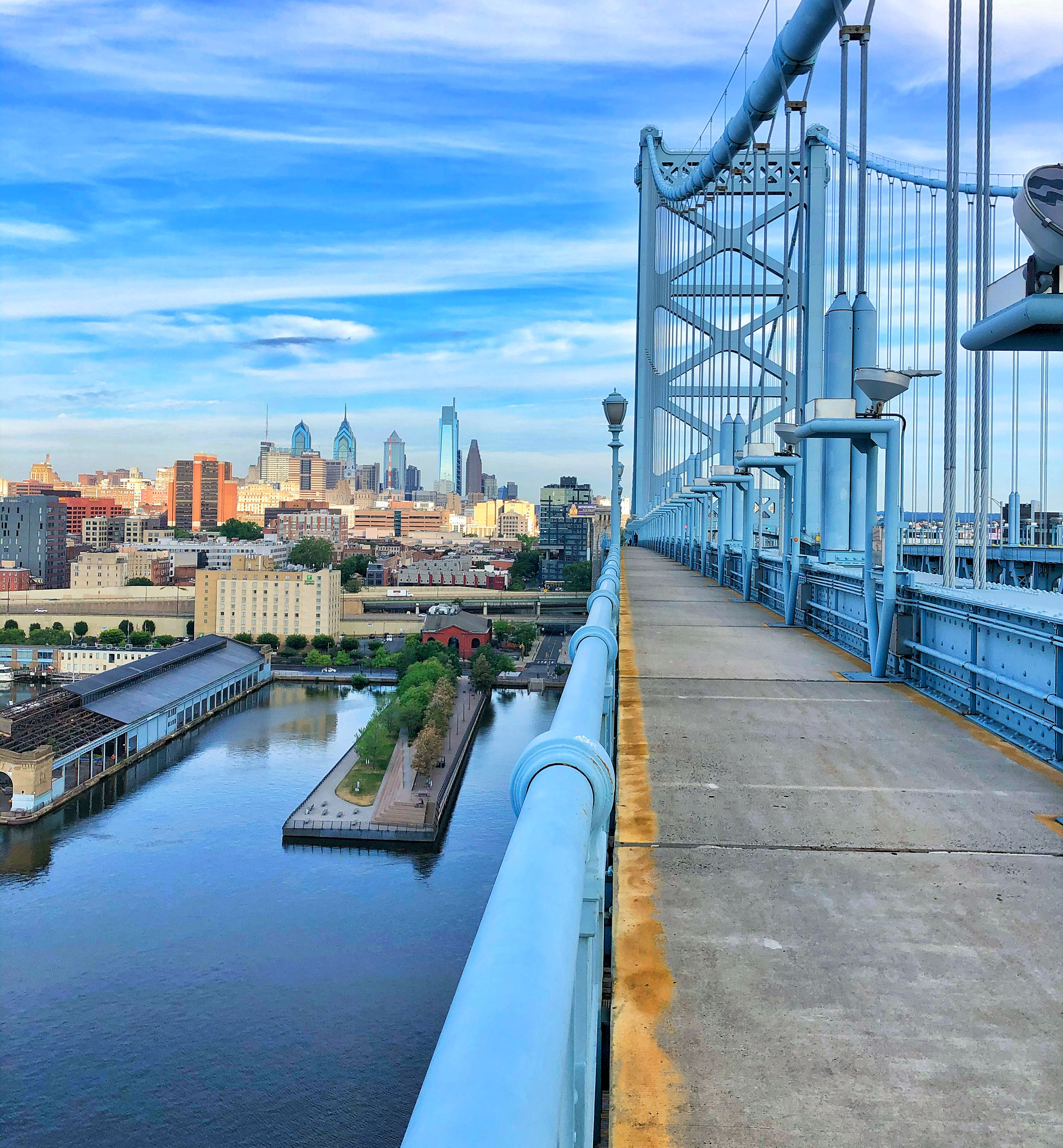 View of downtown Philadelphia, Race Street Pier and Cherry Street Pier from Ben Franklin Bridge