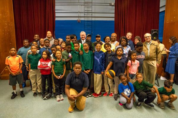 A group of kids gather for a group photo at Olney Recreation Center.